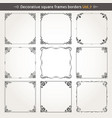 decorative square frames and borders set 7 vector image vector image