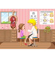 Doctor examining little girl in clinic vector image