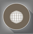 earth globe sign white icon on brown vector image vector image
