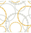 fashion seamless pattern with silver chains fabric vector image