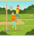 father playing basketball with his son in city vector image