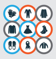 garment icons set with suit glove jacket and vector image