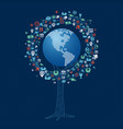 global technology communication tree concept vector image