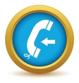 Gold incoming call icon vector image