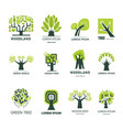 green tree park or woodland icons vector image