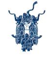 group jewish blowing shofar horn cartoon vector image vector image