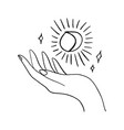 hand and moon hand drawn style logo or icon vector image