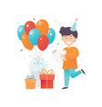 happy little boy his birthday presents and glossy vector image vector image