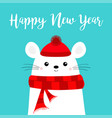 happy new year white mouse head face red hat vector image vector image