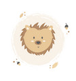 hedgehog hand drawn face character vector image