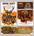 hunting club banner with deer duck bear and boar vector image vector image