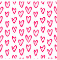 ink hand drawn seamless pattern with hearts doodle vector image