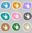 Inspector icon symbols Multicolored paper stickers vector image