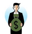 Man with bag of money vector image vector image
