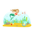 marine life with cute little mermaid and aquatic vector image vector image