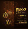 merry christmas card design with hanging xmas vector image vector image