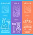 modern house furniture linear poster set vector image vector image