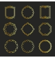 Outline golden emblems and badges frames vector image