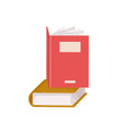pair hardcover books stack textbooks for vector image