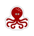 paper sticker on white background octopus vector image vector image