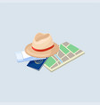 passport paper map hat and air ticket vacation vector image