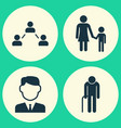 person icons set collection of work man family vector image vector image
