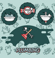 plumbing flat concept icons vector image