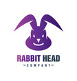 rabbit head animal logo design vector image