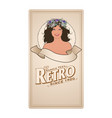 retro label with pretty girl adorned with flowers vector image vector image