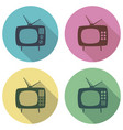 retro tv set flat colorful icons vector image