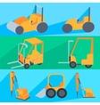 Set flet construction machinery Roller-stacker vector image vector image