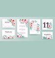 set of invitations for a wedding with pink flowers vector image vector image