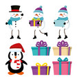 set snowmen with penguin and gifts to christmas vector image