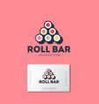sushi roll bar flat logo japanese food emblem vector image vector image
