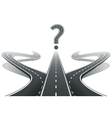 three roads and question mark choosing right vector image