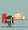 tired businessman sleeping with laptop and coffee vector image