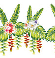 tropical flowers and leaves seamless white vector image vector image