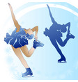 woman figure skating on blue background vector image vector image