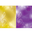 yellow and violet flyers with contours of hearts vector image