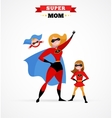 Superhero mother in costume mum with kids vector image