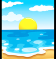 A beautiful view of the beach with a sun vector image vector image