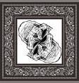 bandana skull black white vector image vector image