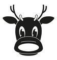 black and white reindeer head silhouette vector image