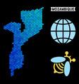 blue hexagon mozambique map vector image