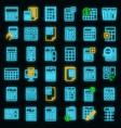 calculator icons set neon vector image vector image