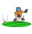 cartoon american football player running on the vector image vector image