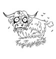 cartoon image of hairy cow farting vector image vector image