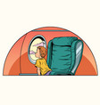 caucasian boy passenger looks out the window on an vector image vector image