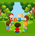 children play pass the parcel vector image vector image