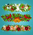 christmas garland with xmas bell greeting card vector image vector image